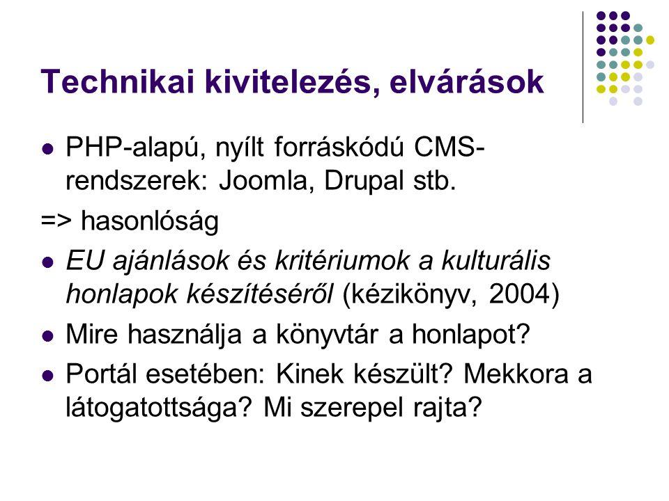 A kulturális honlap minőségi követelményei (2003.MINERVA Project) 1.