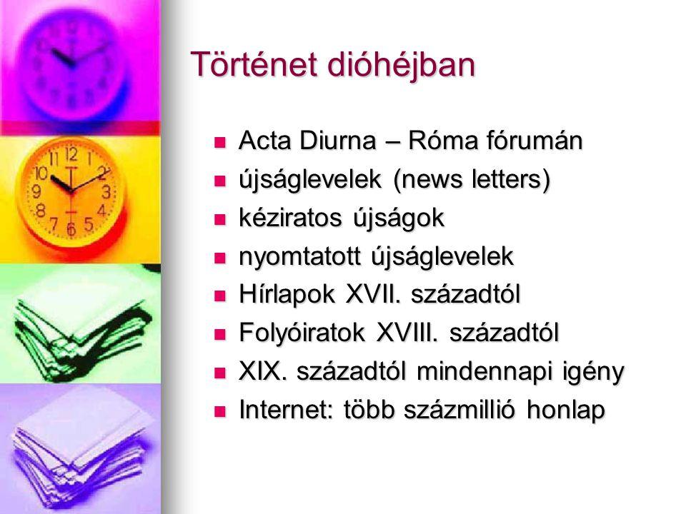 Történet dióhéjban Acta Diurna – Róma fórumán Acta Diurna – Róma fórumán újságlevelek (news letters) újságlevelek (news letters) kéziratos újságok kéziratos újságok nyomtatott újságlevelek nyomtatott újságlevelek Hírlapok XVII.