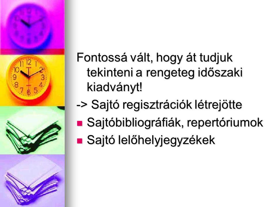 Folyóirat mintakatalógus közművelődési könyvtáraknak segít a választásban közművelődési könyvtáraknak segít a választásban Például: Például: Iszlai Zoltán: Idegen nyelvű folyóiratok jegyzéke nagyobb közművelődési könyvtáraknak Iszlai Zoltán: Idegen nyelvű folyóiratok jegyzéke nagyobb közművelődési könyvtáraknak Juhász Jenő - Könczöl Imre: Hírlapok, folyóiratok a közművelődési könyvtárakban és a hírlapolvasókban Juhász Jenő - Könczöl Imre: Hírlapok, folyóiratok a közművelődési könyvtárakban és a hírlapolvasókban