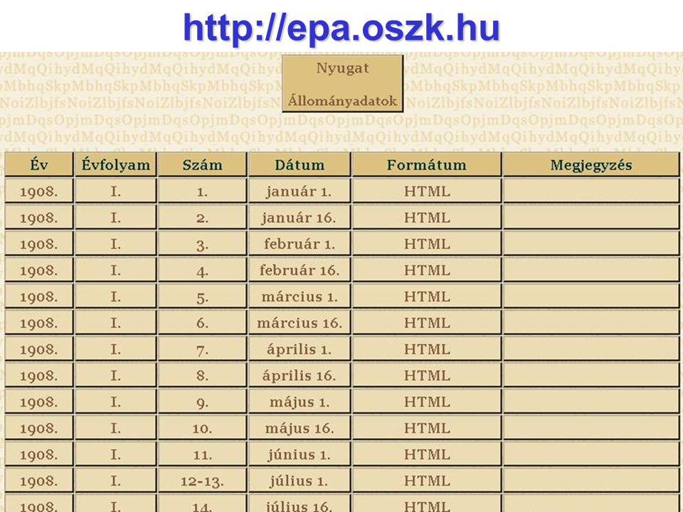 Elektronikus Periodika Archívum és Adatbázis  A fejlesztés jövőbeli iránya  Adatcsere más rendszerekkel  EPA-archívum tervszerű bővítése digitalizálási pályázatok útján  Teljes szövegű cikkadatbázis és nyilvántartás  Szakértők bevonásával válogatott  Strukturált szöveg (XML)