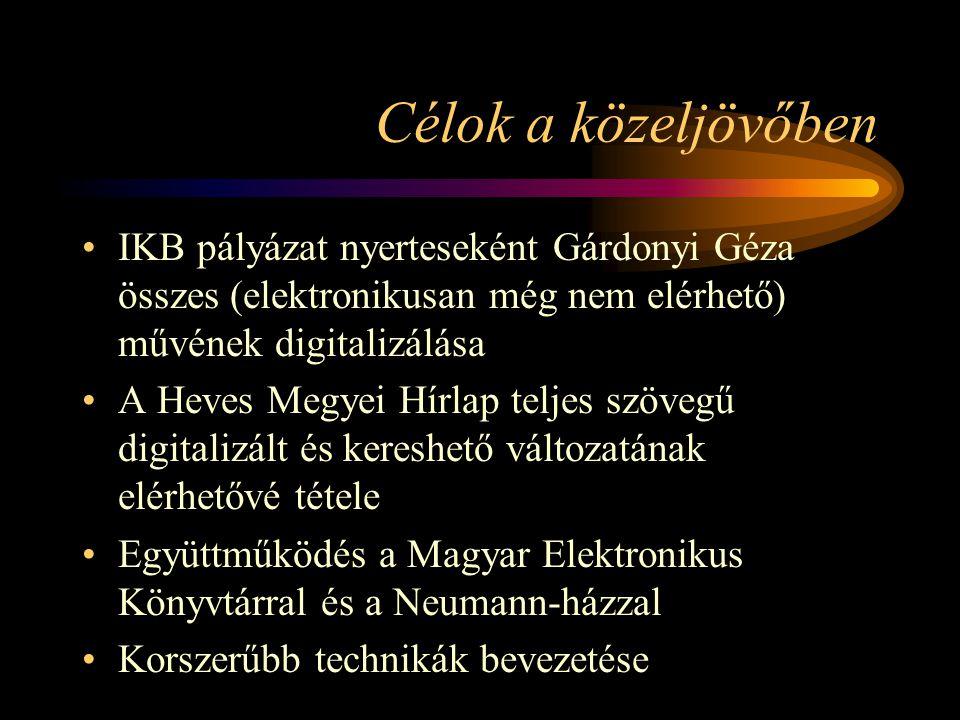 Célok a közeljövőben IKB pályázat nyerteseként Gárdonyi Géza összes (elektronikusan még nem elérhető) művének digitalizálása A Heves Megyei Hírlap teljes szövegű digitalizált és kereshető változatának elérhetővé tétele Együttműködés a Magyar Elektronikus Könyvtárral és a Neumann-házzal Korszerűbb technikák bevezetése