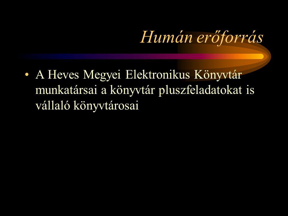 Humán erőforrás A Heves Megyei Elektronikus Könyvtár munkatársai a könyvtár pluszfeladatokat is vállaló könyvtárosai