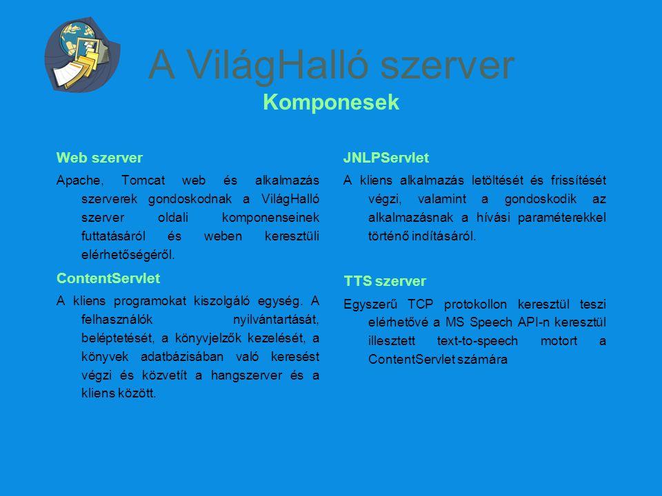A VilágHalló szerver Komponesek Web szerver Apache, Tomcat web és alkalmazás szerverek gondoskodnak a VilágHalló szerver oldali komponenseinek futtatá