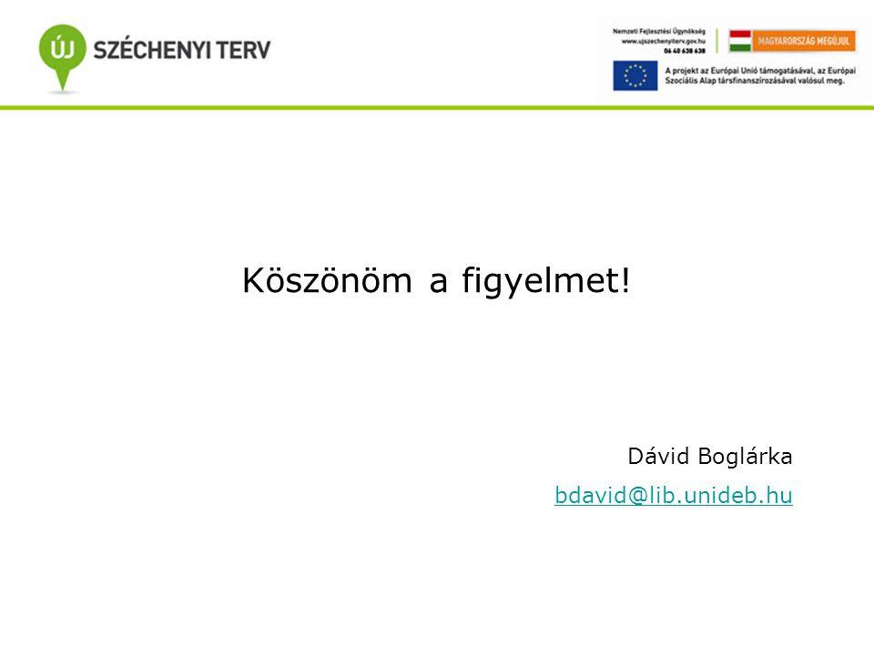 Köszönöm a figyelmet! Dávid Boglárka bdavid@lib.unideb.hu