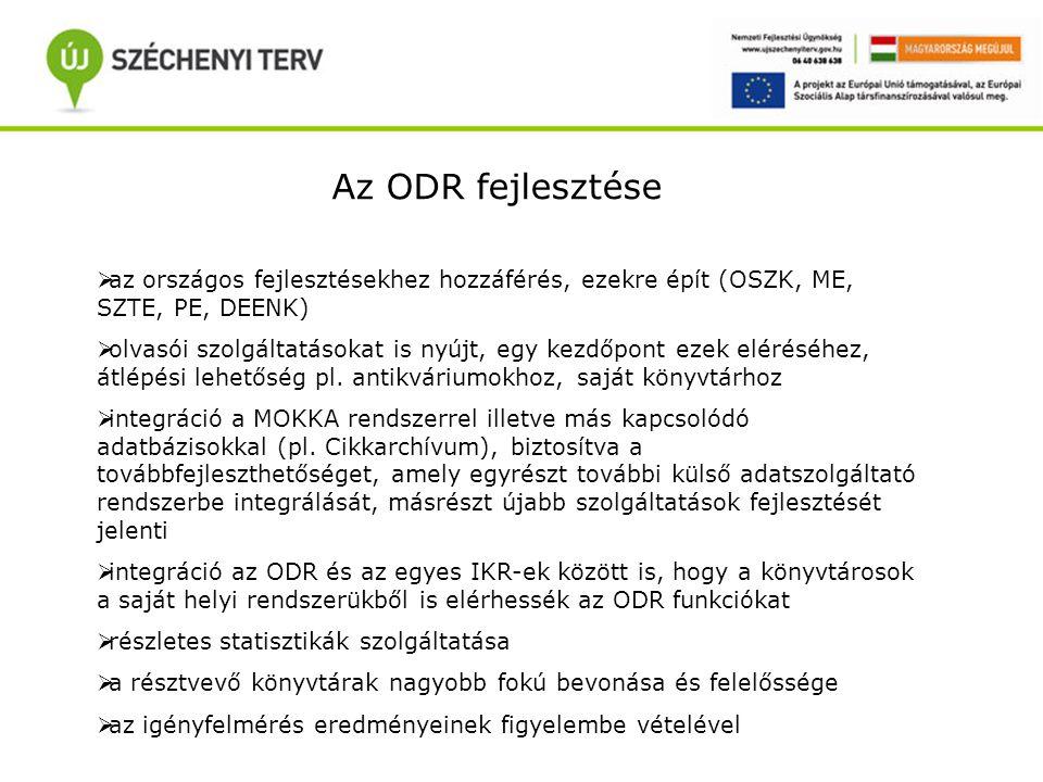 Az ODR fejlesztése  az országos fejlesztésekhez hozzáférés, ezekre épít (OSZK, ME, SZTE, PE, DEENK)  olvasói szolgáltatásokat is nyújt, egy kezdőpont ezek eléréséhez, átlépési lehetőség pl.
