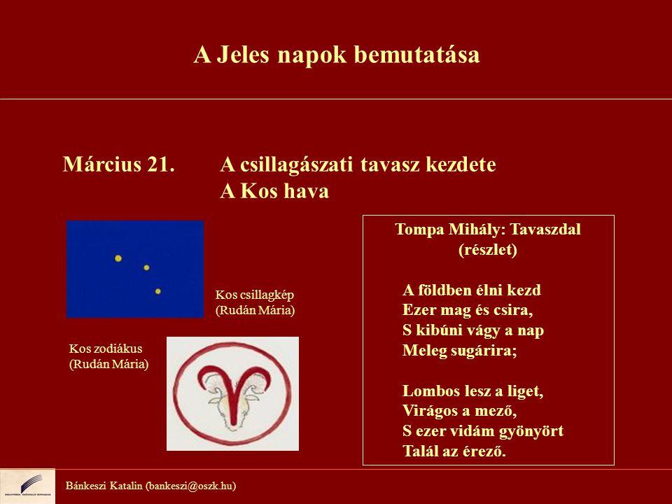 Bánkeszi Katalin (bankeszi@oszk.hu) Március 21.A csillagászati tavasz kezdete A Kos hava Tompa Mihály: Tavaszdal (részlet) A földben élni kezd Ezer ma