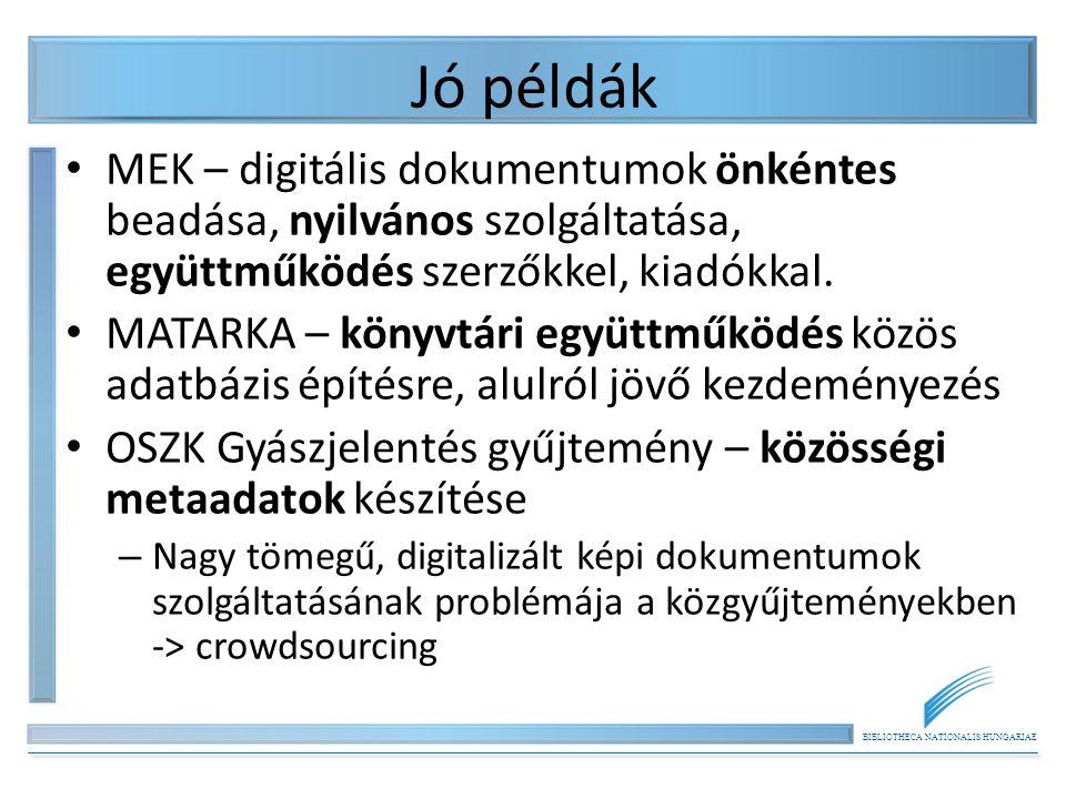 BIBLIOTHECA NATIONALIS HUNGARIAE Jó példák MEK – digitális dokumentumok önkéntes beadása, nyilvános szolgáltatása, együttműködés szerzőkkel, kiadókkal.