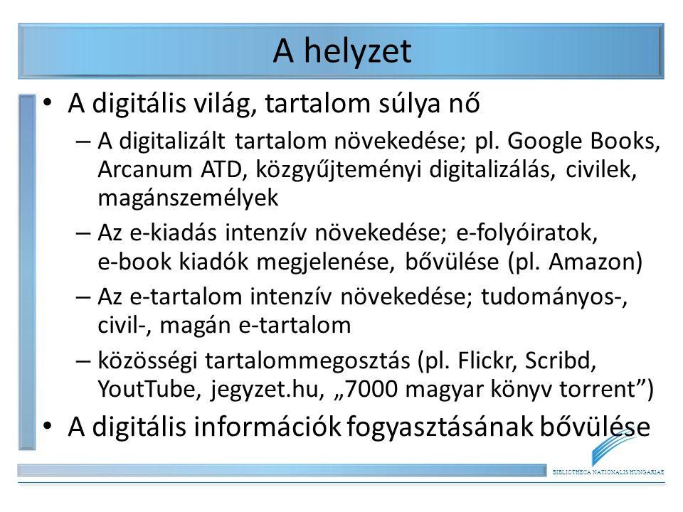 BIBLIOTHECA NATIONALIS HUNGARIAE A helyzet A digitális világ, tartalom súlya nő – A digitalizált tartalom növekedése; pl.