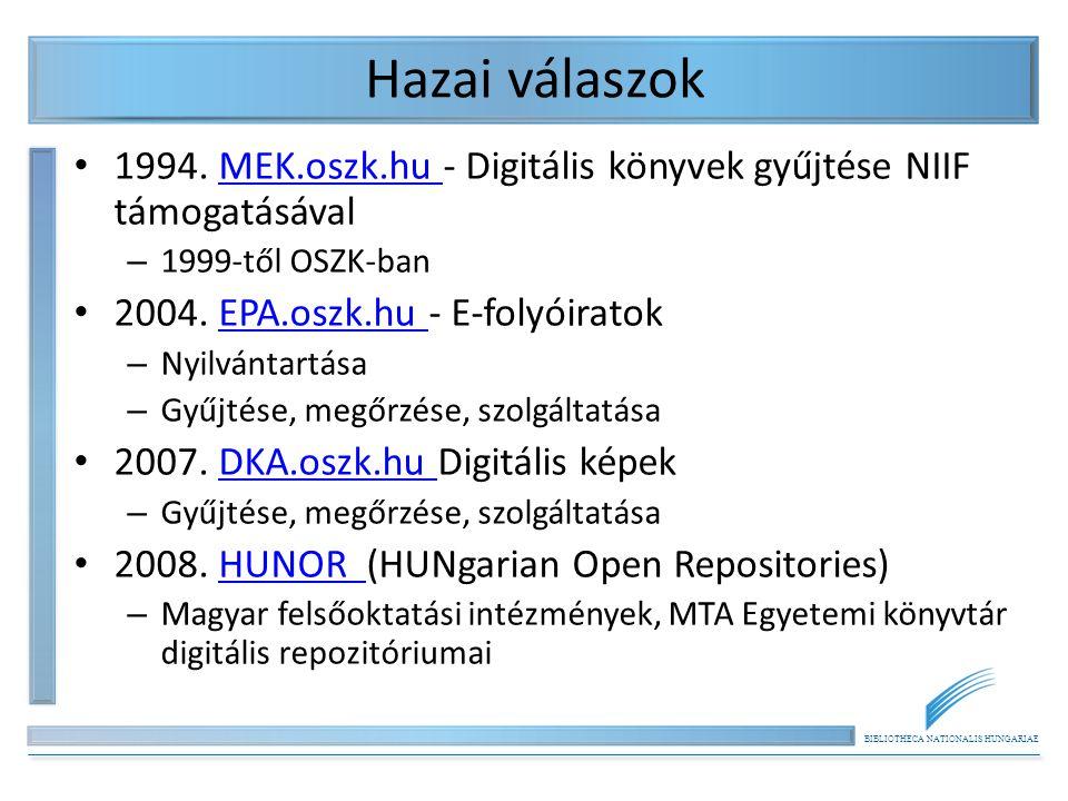 BIBLIOTHECA NATIONALIS HUNGARIAE Hazai válaszok 1994.