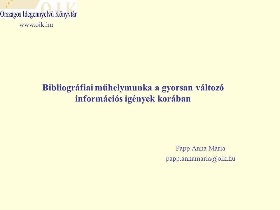 Következtetések  A bibliográfiák, adatbázisok – követték a folyamatos szakmai változásokat és felhasználói igények változását  A kooperáció új korszakot nyit a bibliográfia területén: - Bibliográfiai rendszer: fokozatosan megvalósul a teljeskörűség, az azonos elvek alapján történő feltárás, kiiktatódnak az átfedések - Szakbibliográfia: a tudományterület teljeskörű lefedése, a részletes tartalmi és formai feltárás, illetve teljesszöveg szolgáltatás - Szakma: a kooperáció = állandó szakmai kihívás – szakmai fejlődés - Felhasználó: létrejött, és folyamatosan fejlődik egy egységes, értéknövelt, az igényeknek megfelelő szolgáltatás BIBLIOGRÁFIAI MŰHELYMUNKA Összegezés