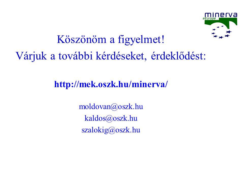 Köszönöm a figyelmet! Várjuk a további kérdéseket, érdeklődést: http://mek.oszk.hu/minerva/ moldovan@oszk.hu kaldos@oszk.hu szalokig@oszk.hu