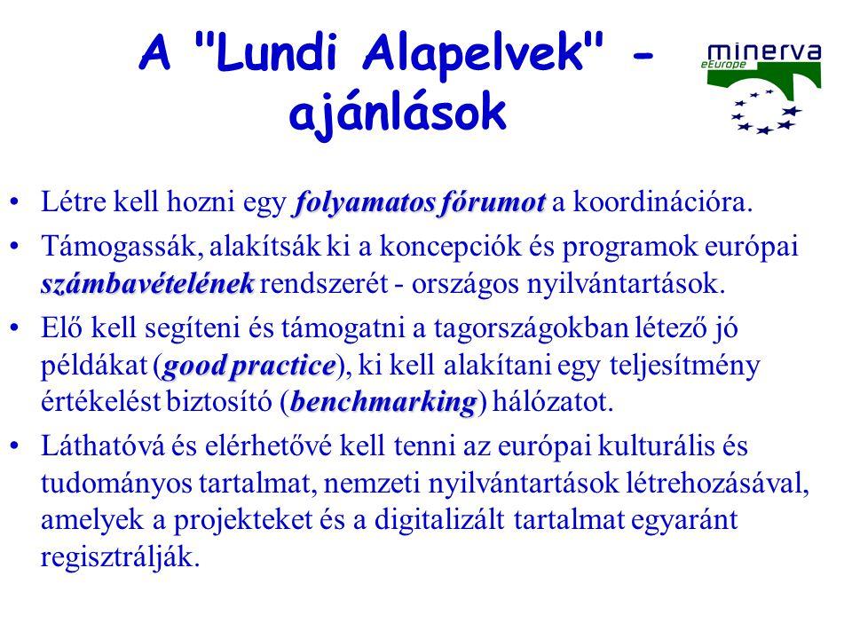 Válasz: MINERVA - MINERVA Plus Ministerial NEtwoRk for Valorising Activities in digitisation http://www.minervaeurope.org Indulás: 2002.