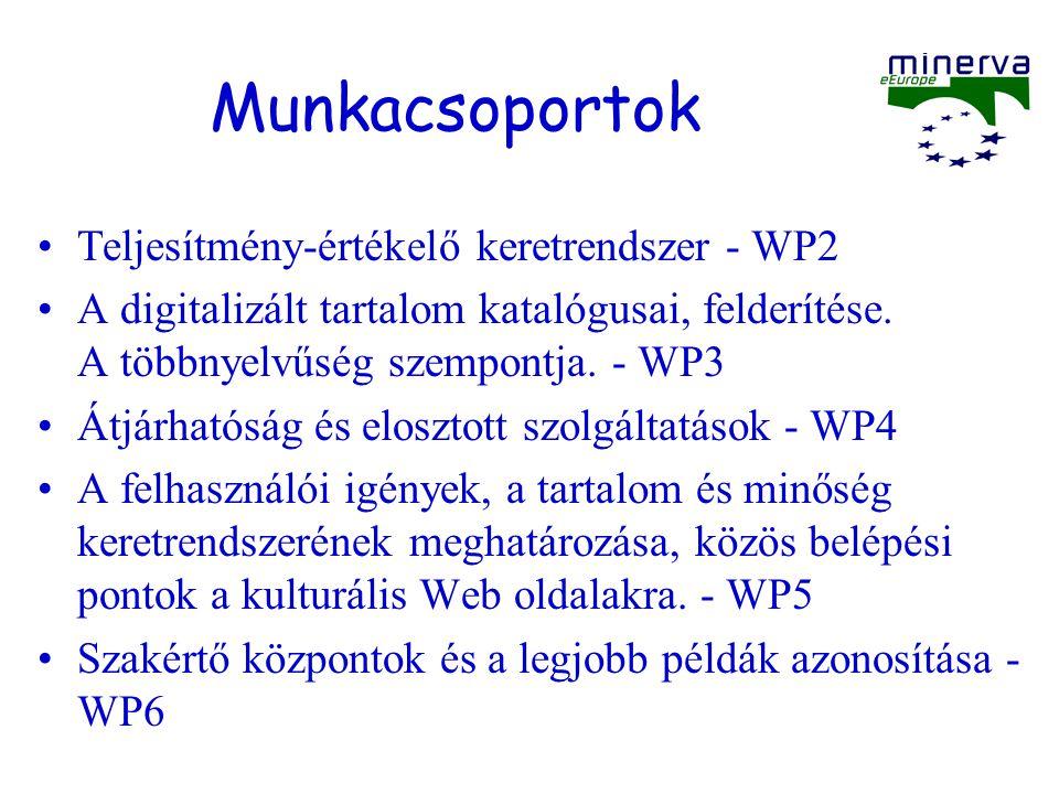 Munkacsoportok Teljesítmény-értékelő keretrendszer - WP2 A digitalizált tartalom katalógusai, felderítése. A többnyelvűség szempontja. - WP3 Átjárható