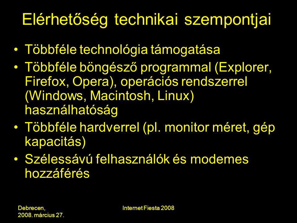 Debrecen, 2008.március 27. Internet Fiesta 2008 Internethasználat vakon.