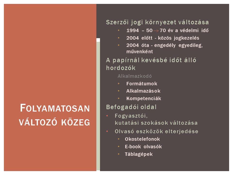 Feladatunk Gyűjtés Digitális megőrzés Szolgáltatható változat készítése Közvetítés – szolgáltatás Kis mennyiségű digitalizálás Gyűjtőkör Digitális és digitalizált, magyar és magyar vonatkozású, elsősorban oktatási, tudományos és kulturális szempontból válogatott, nem jogvédett, vagy engedélyezett könyv jellegű dokumentumok, időszaki kiadványok, képek.