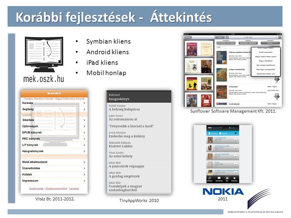 Symbian kliens Android kliens iPad kliens Mobil honlap Korábbi fejlesztések - Áttekintés Sunflower Software Management Kft.