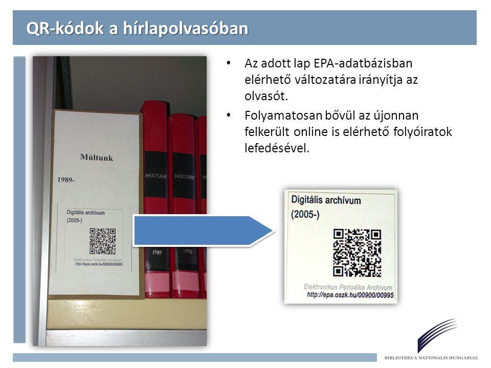 QR-kódok a hírlapolvasóban Az adott lap EPA-adatbázisban elérhető változatára irányítja az olvasót.