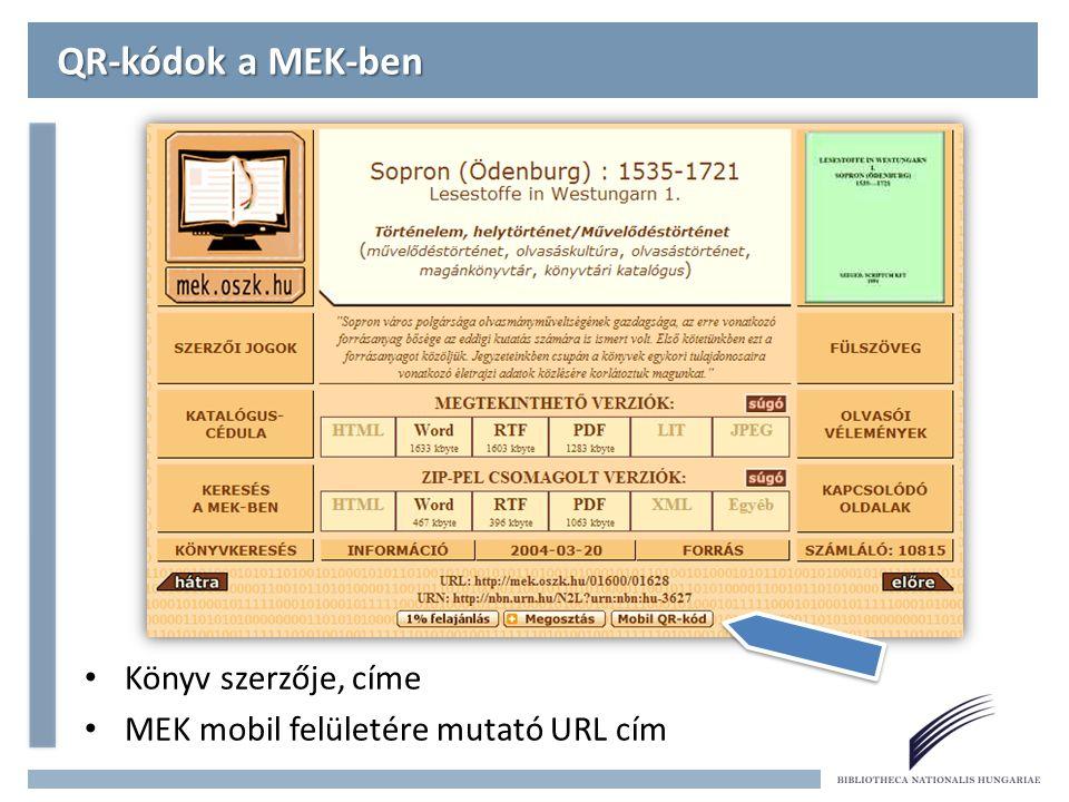 QR-kódok a MEK-ben Könyv szerzője, címe MEK mobil felületére mutató URL cím