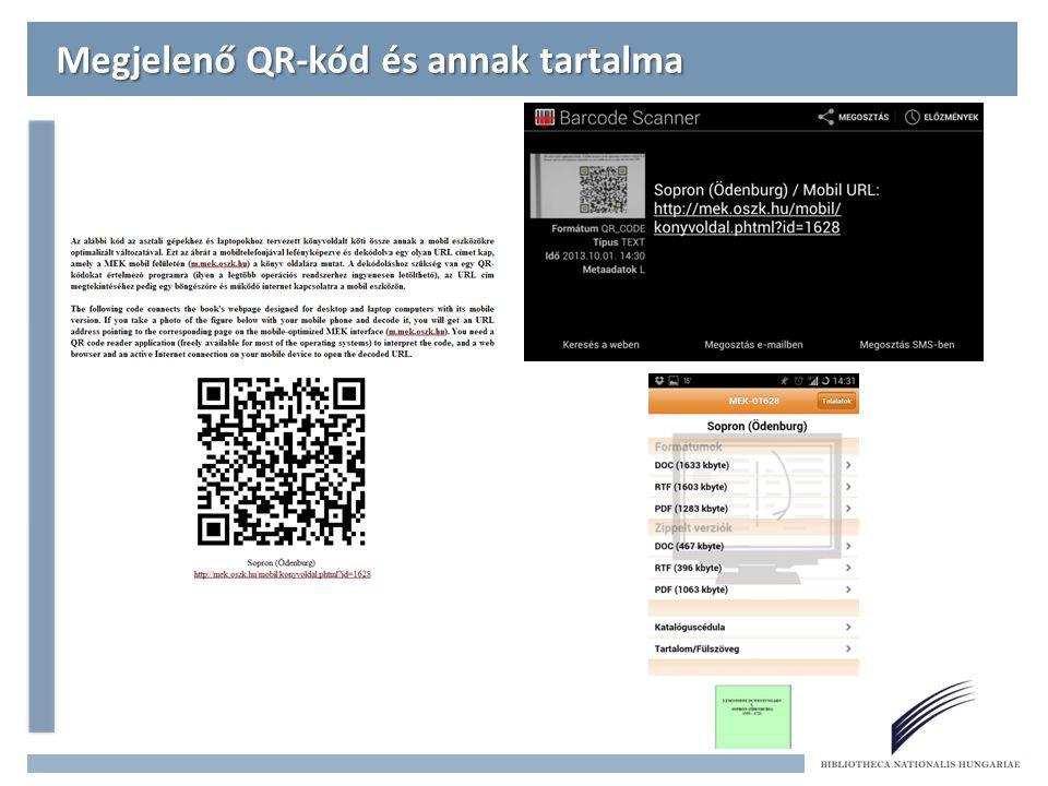 Megjelenő QR-kód és annak tartalma