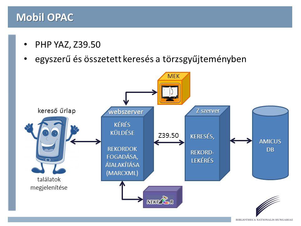 Mobil OPAC PHP YAZ, Z39.50 egyszerű és összetett keresés a törzsgyűjteményben AMICUS DB KERESÉS, REKORD- LEKÉRÉS KÉRÉS KÜLDÉSE REKORDOK FOGADÁSA, ÁTALAKÍTÁSA (MARCXML) Z39.50 Z szerver webszerver találatok megjelenítése kereső űrlap MEK