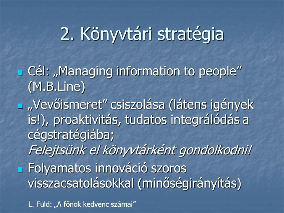 """2. Könyvtári stratégia Cél: """"Managing information to people"""" (M.B.Line) Cél: """"Managing information to people"""" (M.B.Line) """"Vevőismeret"""" csiszolása (lát"""