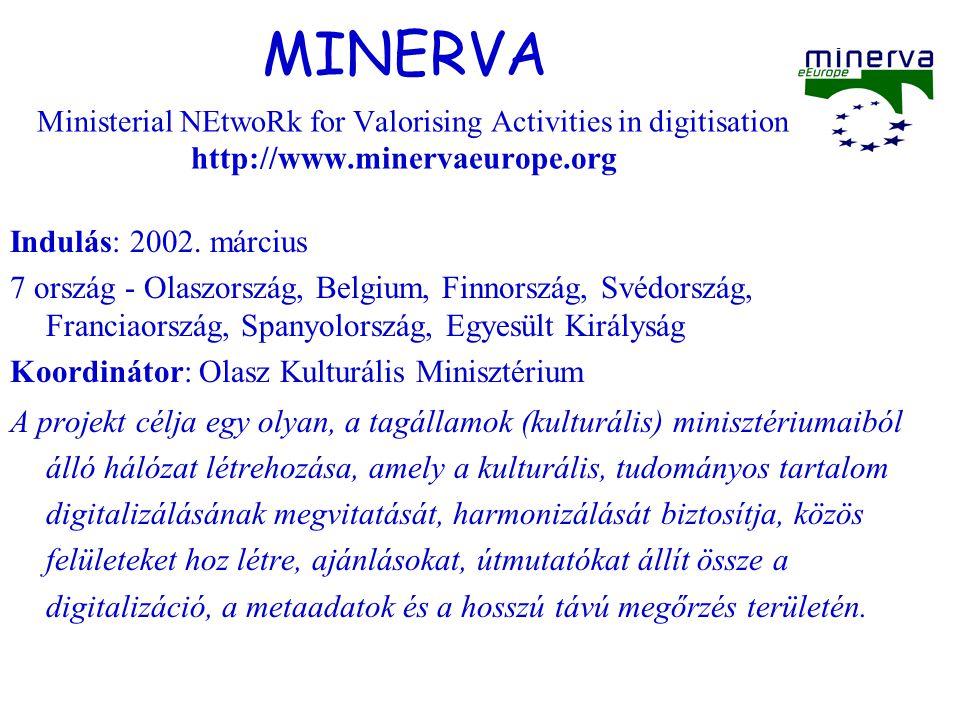 MINERVA Ministerial NEtwoRk for Valorising Activities in digitisation http://www.minervaeurope.org Indulás: 2002.