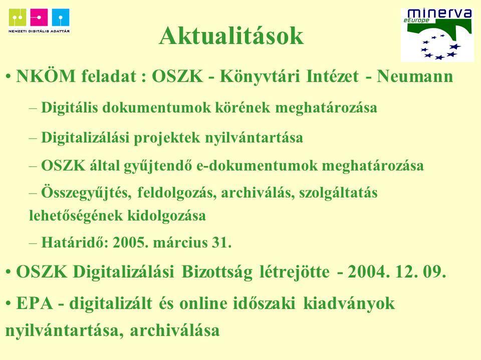 Aktualitások NKÖM feladat : OSZK - Könyvtári Intézet - Neumann – Digitális dokumentumok körének meghatározása – Digitalizálási projektek nyilvántartása – OSZK által gyűjtendő e-dokumentumok meghatározása – Összegyűjtés, feldolgozás, archiválás, szolgáltatás lehetőségének kidolgozása – Határidő: 2005.