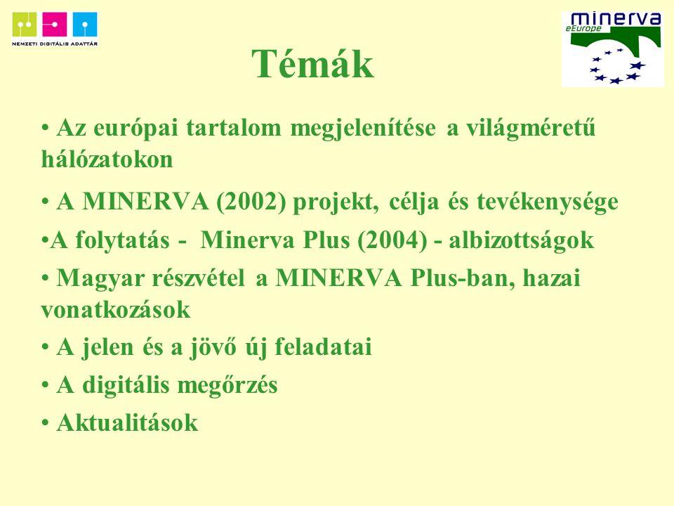 Témák Az európai tartalom megjelenítése a világméretű hálózatokon A MINERVA (2002) projekt, célja és tevékenysége A folytatás - Minerva Plus (2004) - albizottságok Magyar részvétel a MINERVA Plus-ban, hazai vonatkozások A jelen és a jövő új feladatai A digitális megőrzés Aktualitások