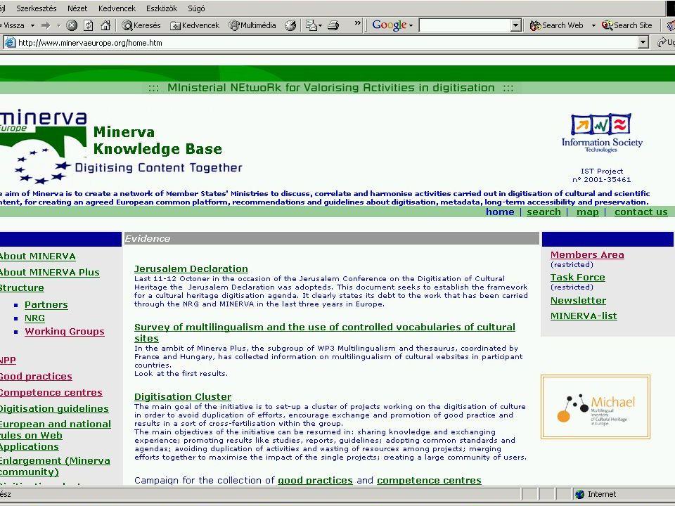 A MINERVA célja, tevékenysége Indulás - 2002.