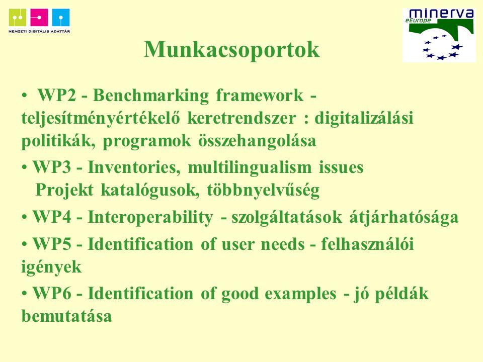 Munkacsoportok WP2 - Benchmarking framework - teljesítményértékelő keretrendszer : digitalizálási politikák, programok összehangolása WP3 - Inventories, multilingualism issues Projekt katalógusok, többnyelvűség WP4 - Interoperability - szolgáltatások átjárhatósága WP5 - Identification of user needs - felhasználói igények WP6 - Identification of good examples - jó példák bemutatása