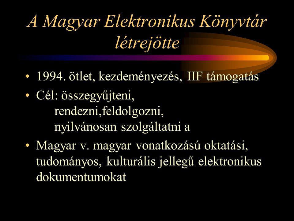 A Magyar Elektronikus Könyvtár létrejötte 1994.