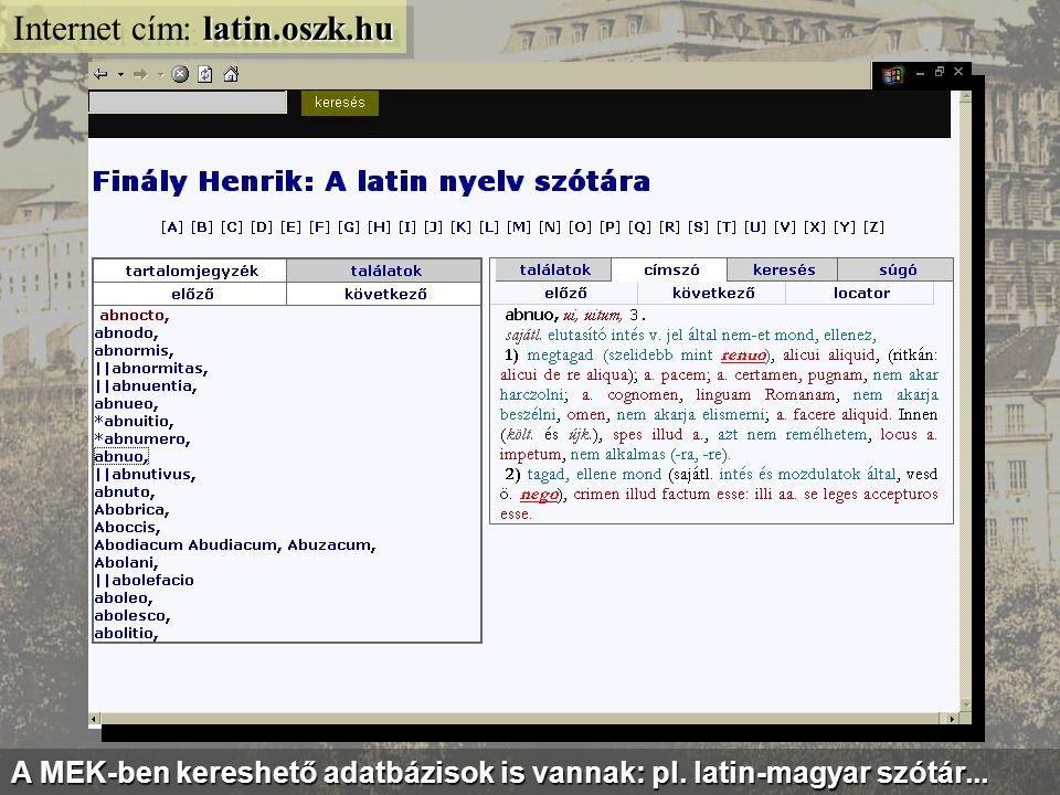 mek.oszk.hu/itm Internet cím: mek.oszk.hu/itm A magyar irodalom klasszikusai tématérképszerű feldolgozásban...