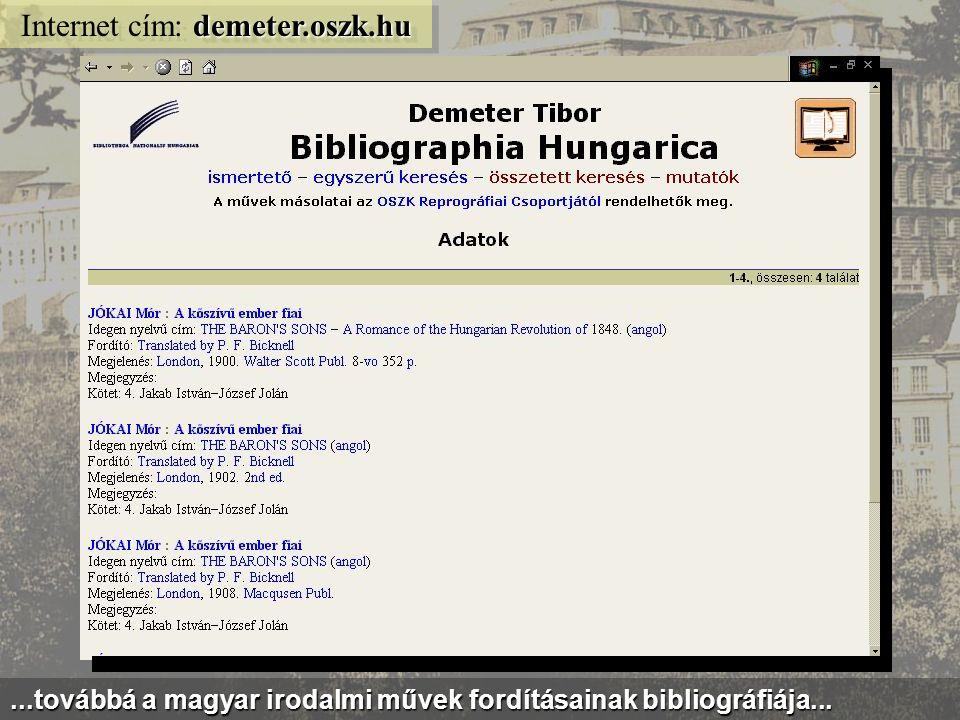 latin.oszk.hu Internet cím: latin.oszk.hu A MEK-ben kereshető adatbázisok is vannak: pl.