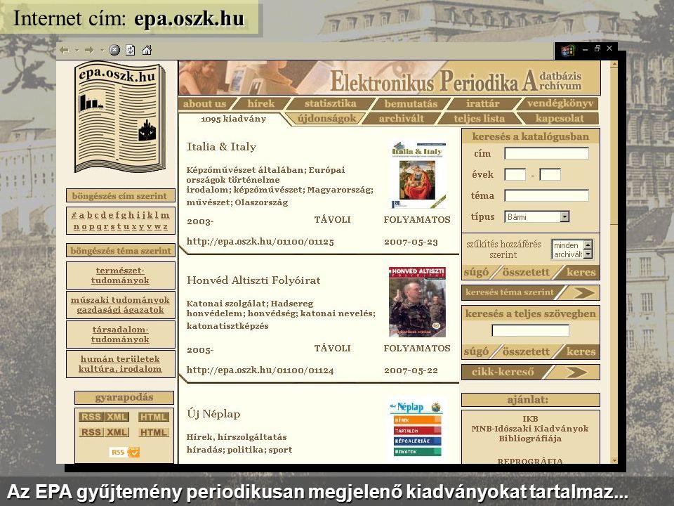 demeter.oszk.hu Internet cím: demeter.oszk.hu...továbbá a magyar irodalmi művek fordításainak bibliográfiája...