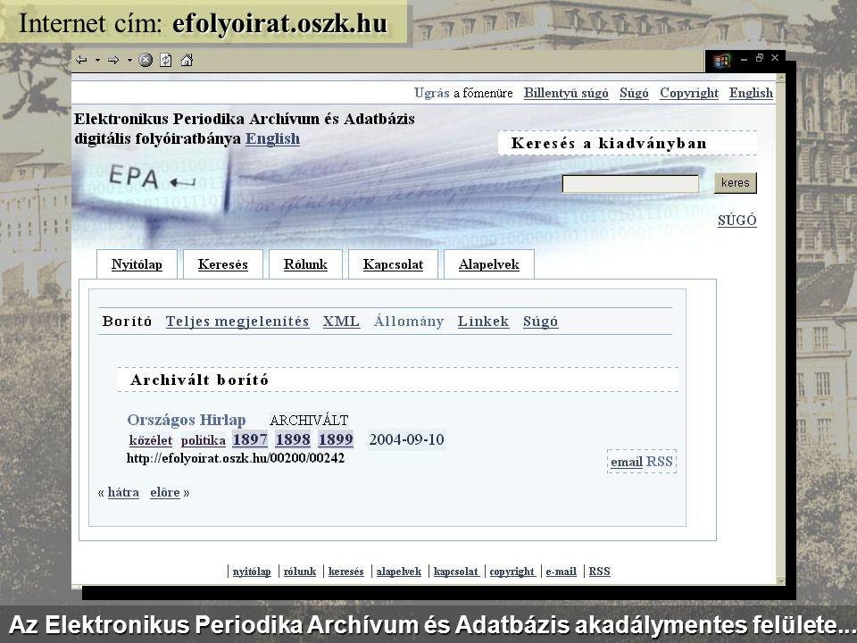 epa.oszk.hu/vu Internet cím: epa.oszk.hu/vu Egy 19. századi hetilap: a Vasárnapi Ujság digitalizált évfolyamai...