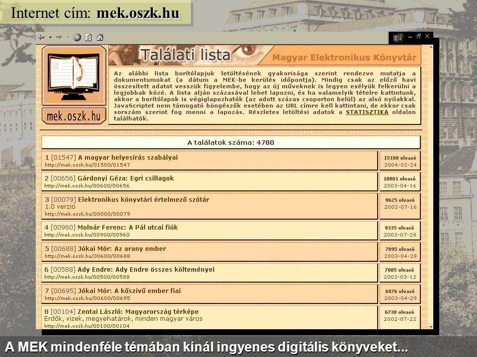 Itt működik a MEK, a legrégibb és legnagyobb magyar e-könyvtár... mek.oszk.hu Internet cím: mek.oszk.hu