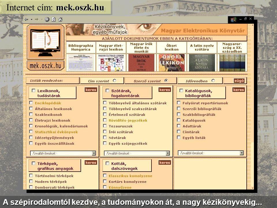 A MEK mindenféle témában kínál ingyenes digitális könyveket...