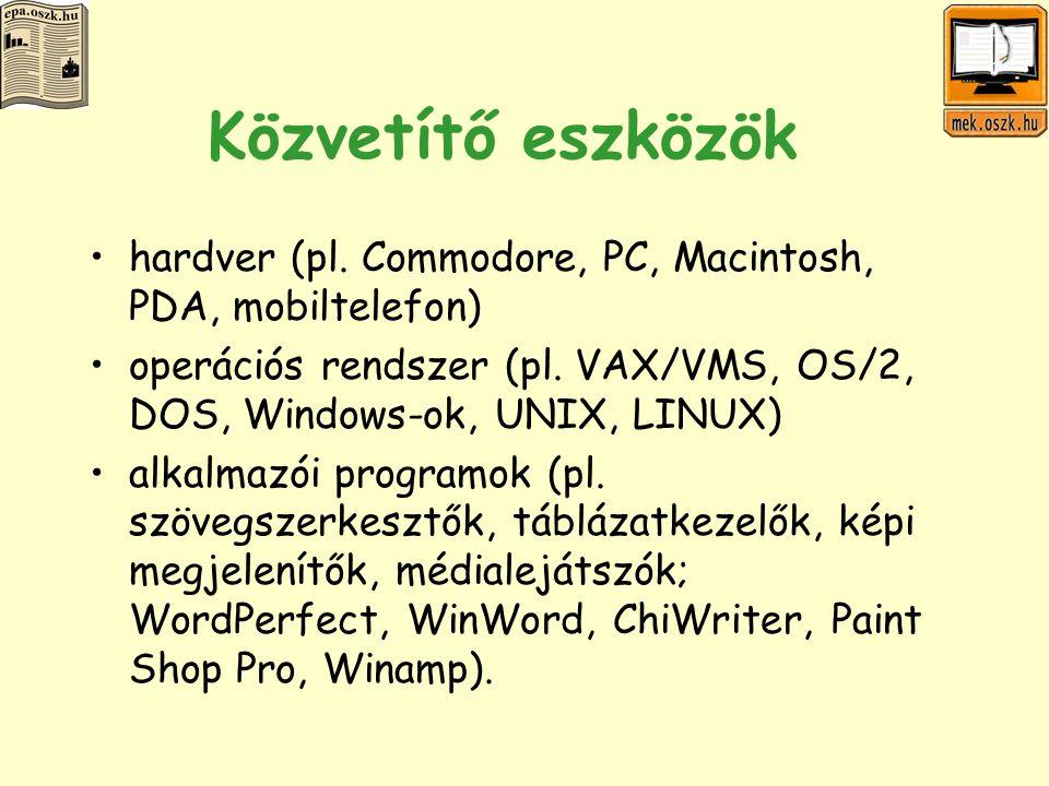 Elterjedtség online dokumentumok (pl.