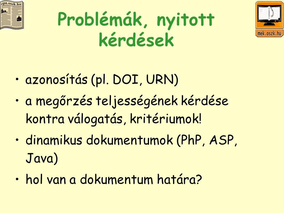 Problémák, nyitott kérdések azonosítás (pl.