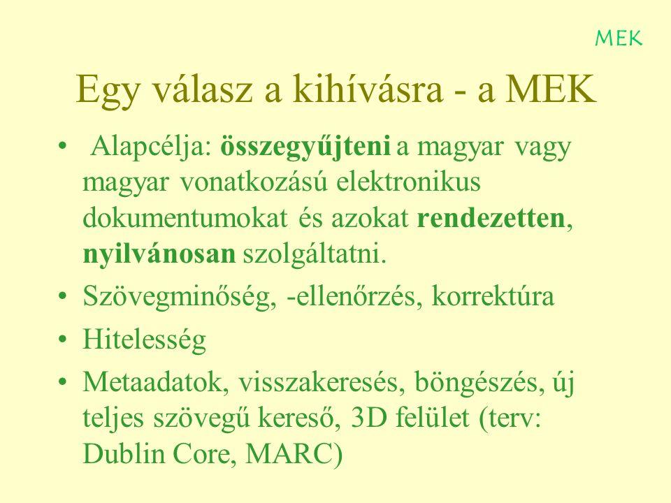 Egy válasz a kihívásra - a MEK Alapcélja: összegyűjteni a magyar vagy magyar vonatkozású elektronikus dokumentumokat és azokat rendezetten, nyilvánosan szolgáltatni.
