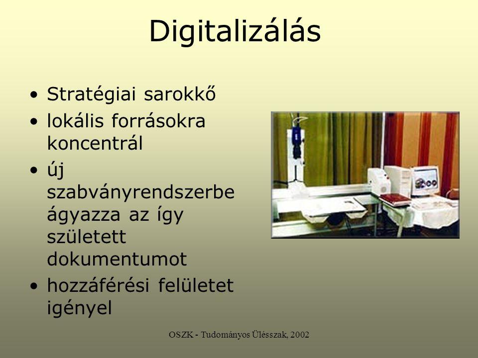 Digitalizálás Újraalkotás, nem másolat a digitalizáló közreadói funkciót is ellát dinamikus végeredmény a végeredmény információ eredeti dokumentum állagmegóvása szélesebb körű hozzáférés