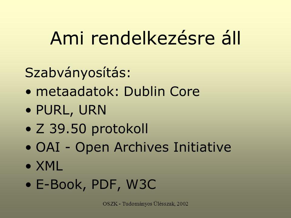 OSZK - Tudományos Ülésszak, 2002 UBC UAP Universal Bibliographic Control Universal Availability of Publications Digitális könyvtár Elektronikus könyvtár