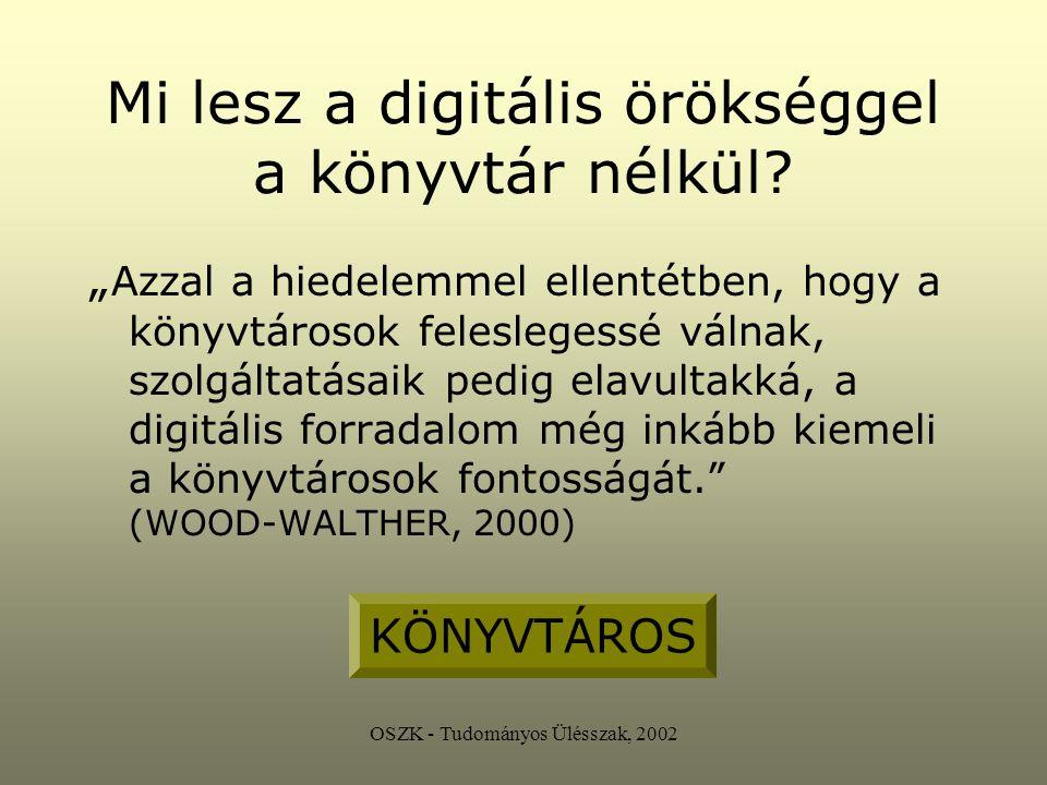 OSZK - Tudományos Ülésszak, 2002 Ami megoldásra vár Copyright törvényes szabályozás tudományos kommunikáció új kereteinek kialakítása on-line hivatkozásetika digitális formátum állagmegőrzése