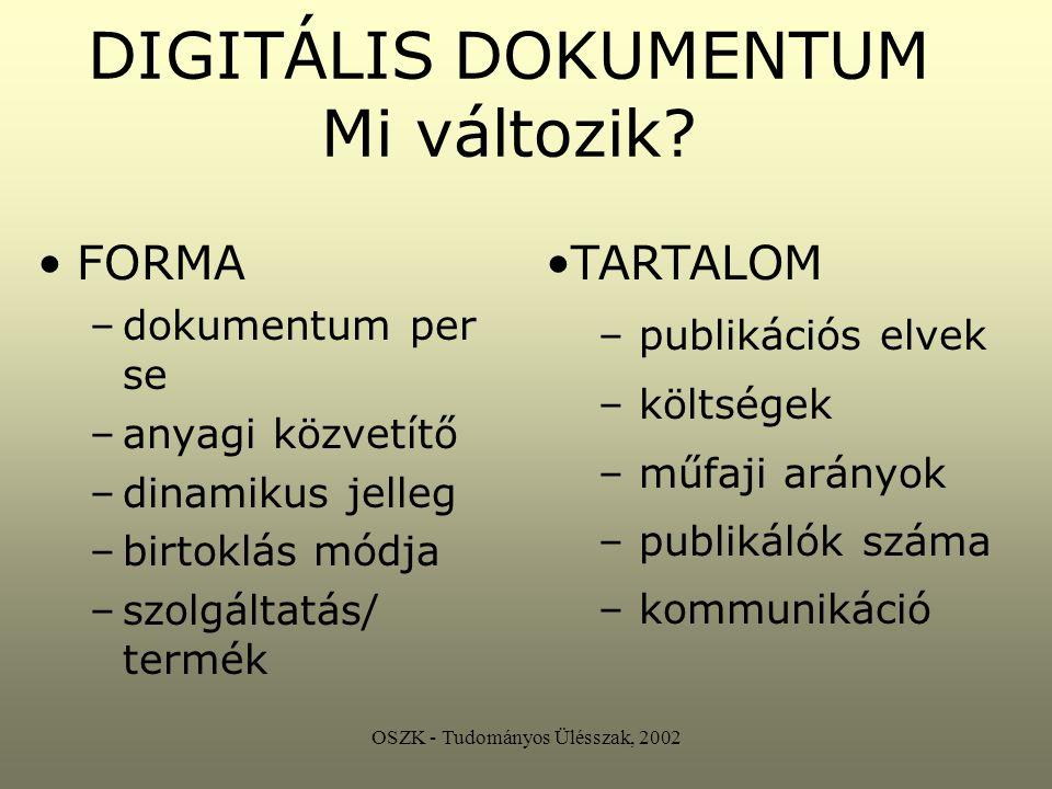 OSZK - Tudományos Ülésszak, 2002 UNESCO - CDNL Digitális örökség felelősség infrastruktúra módszertan tudatosság