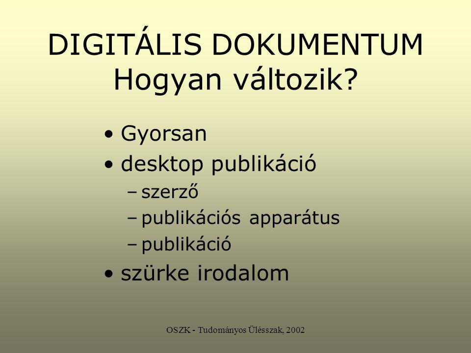 OSZK - Tudományos Ülésszak, 2002 DIGITÁLIS DOKUMENTUM Hogyan változik.