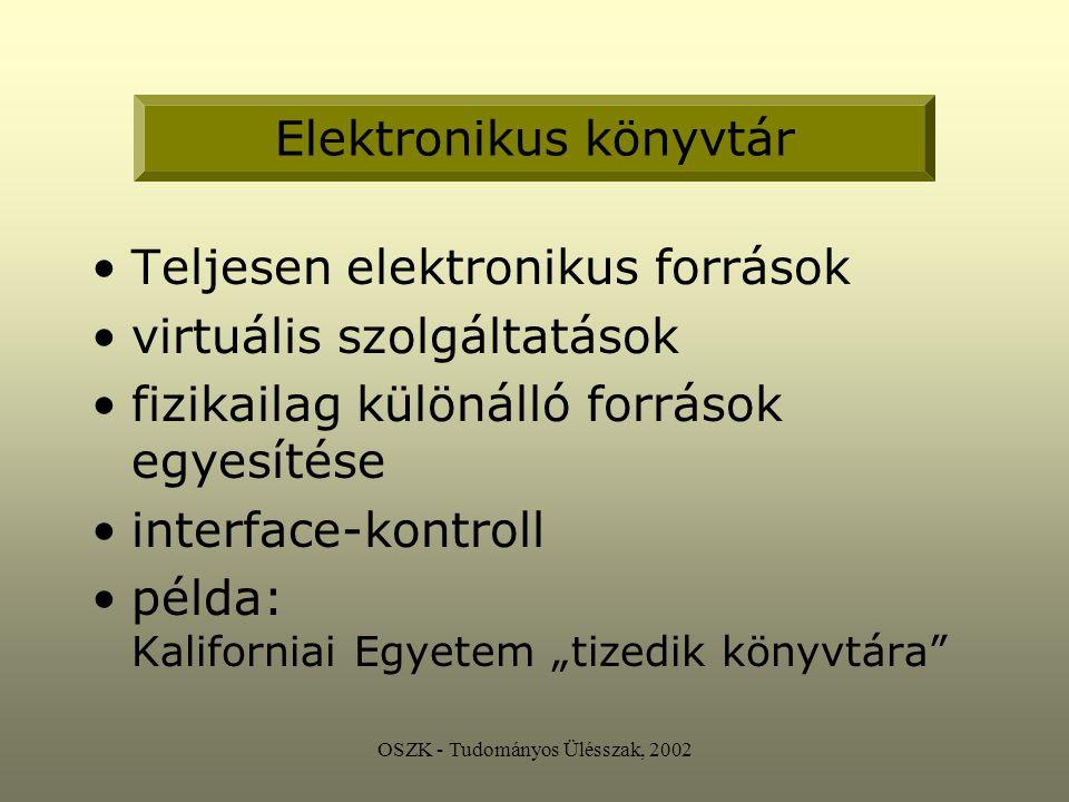 """OSZK - Tudományos Ülésszak, 2002 Teljesen elektronikus források virtuális szolgáltatások fizikailag különálló források egyesítése interface-kontroll példa: Kaliforniai Egyetem """"tizedik könyvtára Elektronikus könyvtár"""