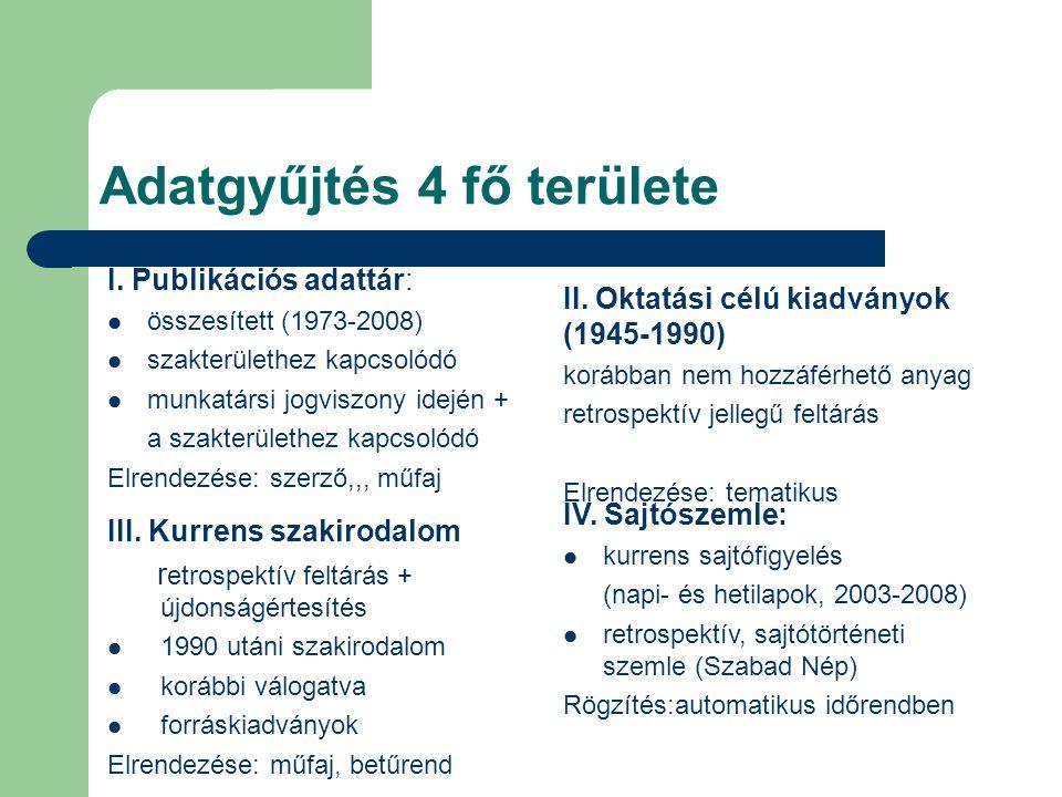 Adatgyűjtés 4 fő területe I. Publikációs adattár: összesített (1973-2008) szakterülethez kapcsolódó munkatársi jogviszony idején + a szakterülethez ka