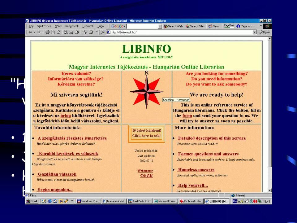 Online tájékoztatás Ask a librarian