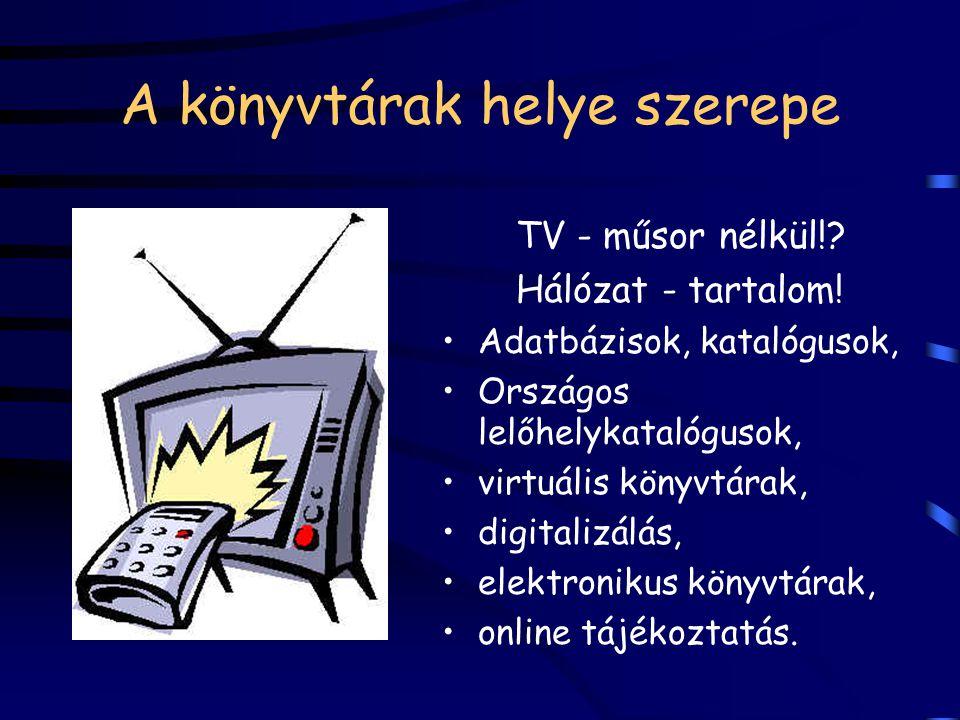 A könyvtárak helye szerepe TV - műsor nélkül!? Hálózat - tartalom! Adatbázisok, katalógusok, Országos lelőhelykatalógusok, virtuális könyvtárak, digit