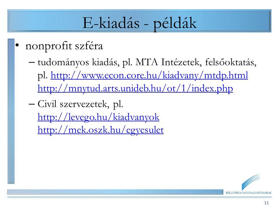 BIBLIOTHECA NATIONALIS HUNGARIAE 11 E-kiadás - példák nonprofit szféra – tudományos kiadás, pl. MTA Intézetek, felsőoktatás, pl. http://www.econ.core.